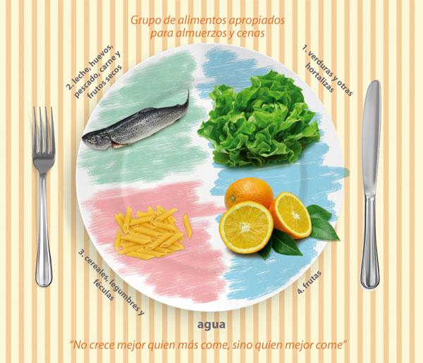 grupos de alimentos apropiados para almuerzos y cenas